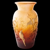 Daum Crystal Autumn Vase Amber & Gold - 10% OF YOUR PURCHASE BACK