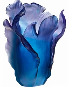 Daum Crystal Blue Tulip Vase - Guaranteed Lowest Price