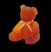 Daum Crystal Doudours Teddy Bear Large Amber - REWARDS BONUS APPLIES