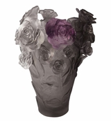 Daum Crystal Flower Vase Grey Purple - 10% OF YOUR PURCHASE BACK