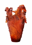 Daum Crystal Horse Vase Magnum Amber - Guaranteed Lowest Price