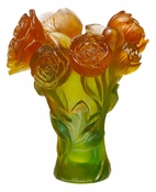 Daum Crystal Peony Vase - Green & Orange - Guaranteed Lowest Price