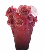 Daum Crystal Red Rose Passion Vase & White Flower - Limited Edition of 375 - Guaranteed Lowest Price