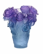 Daum Crystal Rose Passion Blue Purple Vase - Guaranteed Lowest Price