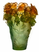 Daum Crystal Rose Passion Green & Orange Vase - 10% OF YOUR PURCHASE BACK