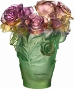 Daum Crystal Rose Passion - Green & Pink Vase - Guaranteed Lowest Price