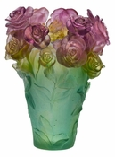Daum Crystal Rose Passion - Green & Pink Vase