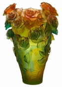 Daum Crystal Rose Passion Magnum Vase - Green & orange - Limited Edition of 99 - Guaranteed Lowest Price