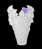 Daum Crystal Rose Passion White & Purple Magnum Vase Limited Edition of 50