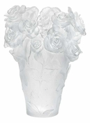 Daum Crystal Rose Passion - White Vase - 10% OF YOUR PURCHASE BACK