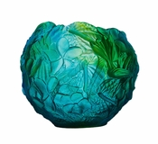 Daum Crystal Vase Blue & Green - Guaranteed Lowest Price