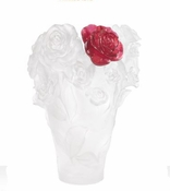 Daum Crystal White Rose Passion Vase & Red Flower - Limited Edition of 500 - Guaranteed Lowest Price