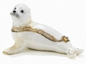 Enameled & Jeweled Baby Seal Box