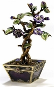 Enameled & Jeweled Bonsai Purple Tree Box