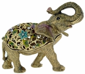 Enameled & Jeweled Gold Elephant Box
