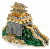 Enameled & Jeweled Great Wall Of China Box