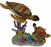 Enameled & Jeweled Jewel Sea Turtle & Baby Box