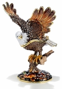 Enameled & Jeweled Large Bald Eagle Box