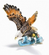 Enameled & Jeweled Large Flying Eagle Box