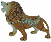 Enameled & Jeweled Lion Box