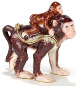 Enameled & Jeweled Mother & Baby Monkey Box