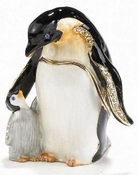 Enameled & Jeweled Penguin & Baby Box