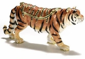 Enameled & Jeweled Tiger Box