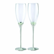 Glitter Galore Glass Flutes W/ Crystals & Satin Stems (Pr)