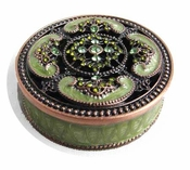 Green Enamel Box with Crystals