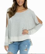 High-Low Cold Shoulder Top - Heather Grey