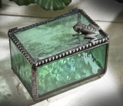 J Devlin Art Glass Box Frog Sage