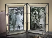 J Devlin Art Glass 4x6 Double Hinged Picture Frame Beveled