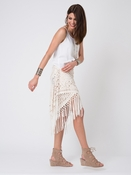 Jagger Laser Cut Out Faux Suede Shawl Fringe- White