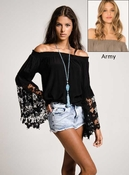 Jolie Flower Lace Blouse- Army