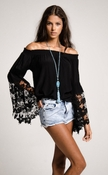 Jolie Flower Lace Blouse- Black
