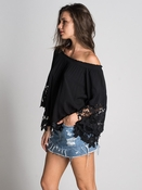Jolie II Flower Lace Blouse - Black