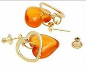 Lalique Heart Earrings Amber - CLOSEOUT FINAL SALE