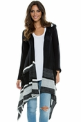 Long Drape Open Front Hooded Sweater in Black