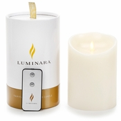 Luminara Flameless Candle with Remote - Ocean Breeze Ivory Pillar - 5 in - SPECIAL