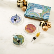 Marbleized Wine Coaster And Bottle Stopper Set