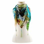 Mary Frances Scarf Peacock Feather - Triangle