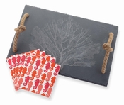 Mud Pie Fan Coral Slate Cheese & Cutting Board Set