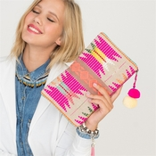 PINK EMBROIDERED AZTEC CLUTCH BAG WITH POM POM