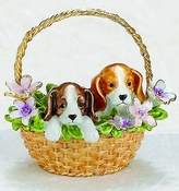 Puppies In Flower Basket Box