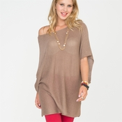 Taupe Lightweight Sweater With Kimono Sleeve