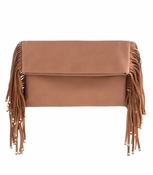 Tori Fringe Clutch Tan - CLOSEOUT