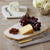 White Marble Cheese Board With Knife
