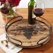 Wooden Decorative Tray With Iron Handles
