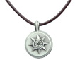 Pewter Small Compass Rose Compass Necklace