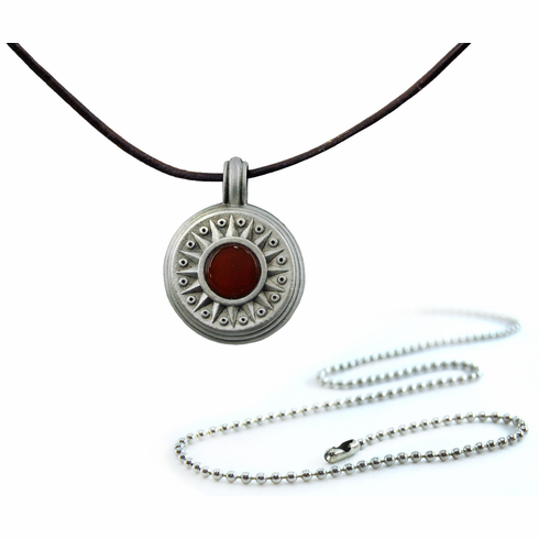 Pewter Carnelian Compass Necklace